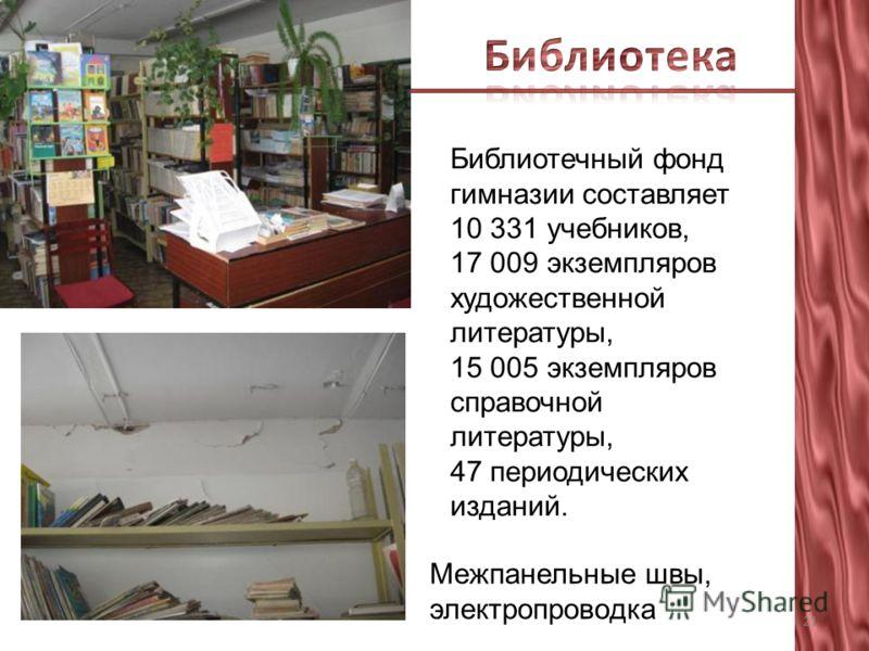 Межпанельные швы, электропроводка 21 Библиотечный фонд гимназии составляет 10 331 учебников, 17 009 экземпляров художественной литературы, 15 005 экземпляров справочной литературы, 47 периодических изданий.