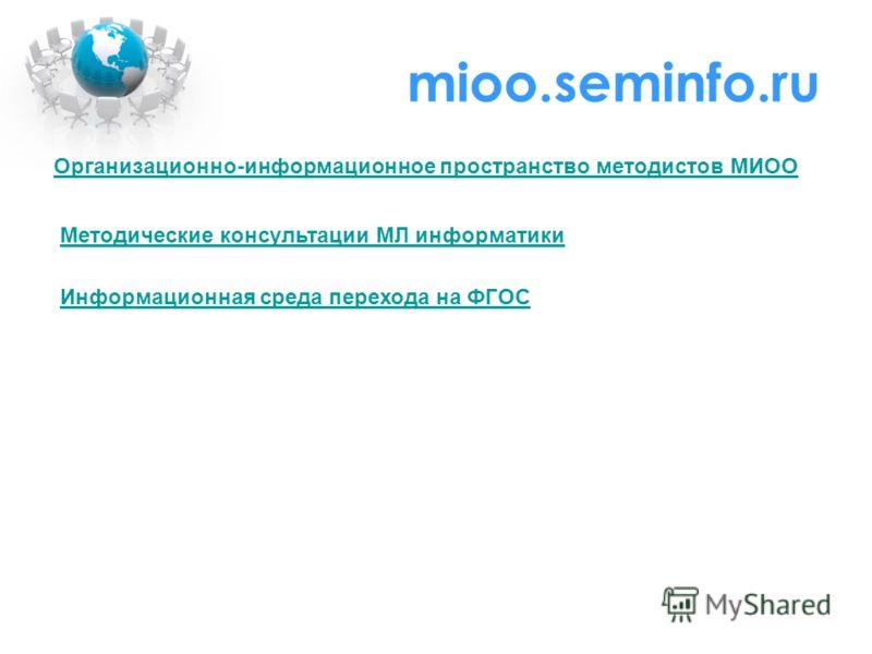 mioo.seminfo.ru Организационно-информационное пространство методистов МИОО Методические консультации МЛ информатики Информационная среда перехода на ФГОС