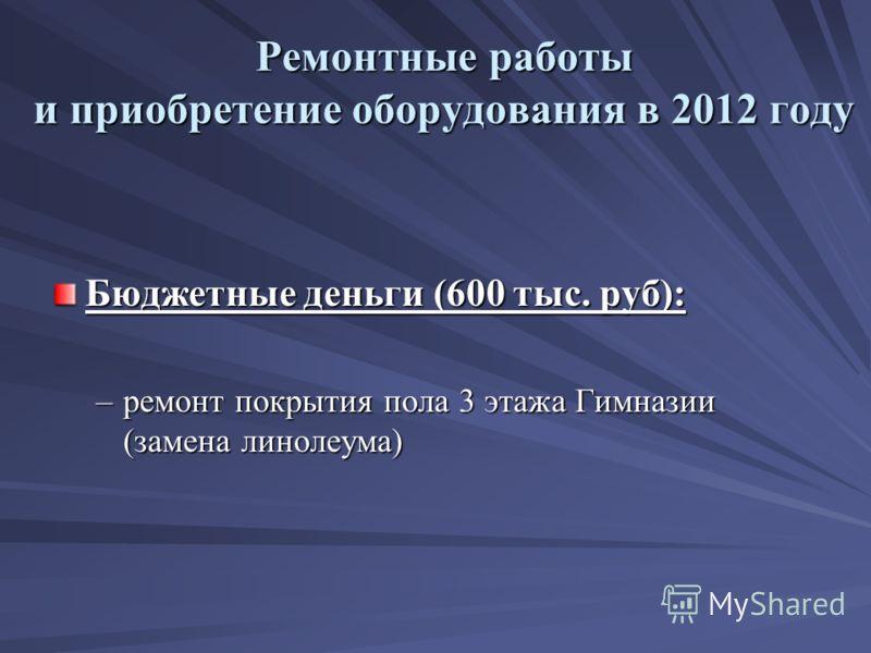 Ремонтные работы и приобретение оборудования в 2012 году Бюджетные деньги (600 тыс. руб): –ремонт покрытия пола 3 этажа Гимназии (замена линолеума)