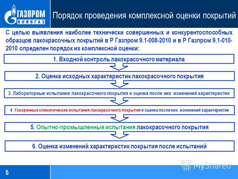 5 Порядок проведения комплексной оценки покрытий С целью выявления наиболее технически совершенных и конкурентоспособных образцов лакокрасочных покрытий в Р Газпром 9.1-008-2010 и в Р Газпром 9.1-010- 2010 определен порядок их комплексной оценки: 1.