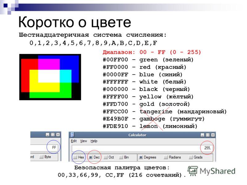 Коротко о цвете Шестнадцатеричная система счисления: 0,1,2,3,4,5,6,7,8,9,A,B,C,D,E,F Диапазон: 00 - FF (0 - 255) #00FF00 – green (зеленый) #FF0000 – red (красный) #0000FF – blue (синий) #FFFFFF – white (белый) #000000 – black (черный) #FFFF00 – yello