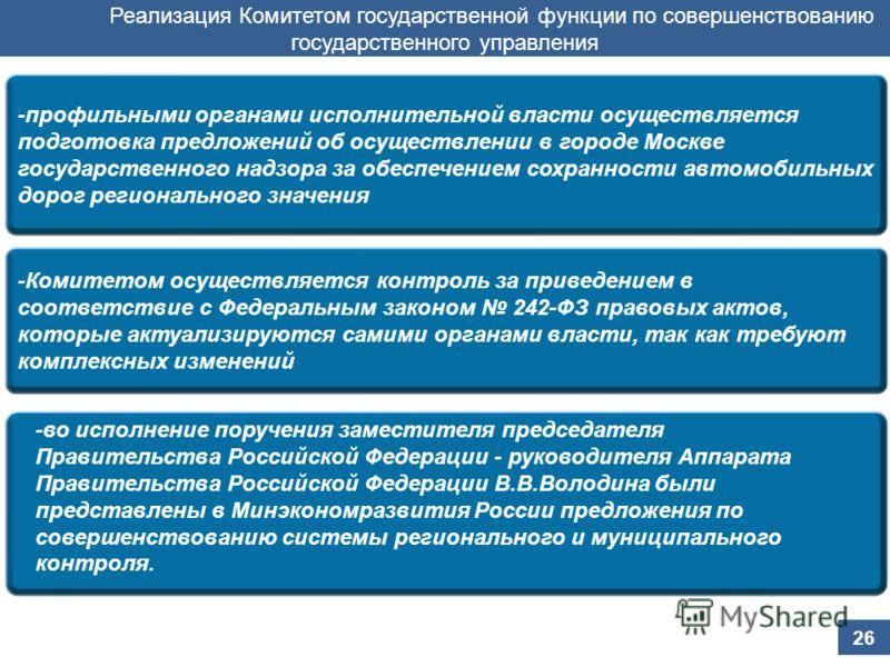 -профильными органами исполнительной власти осуществляется подготовка предложений об осуществлении в городе Москве государственного надзора за обеспечением сохранности автомобильных дорог регионального значения Реализация Комитетом государственной фу