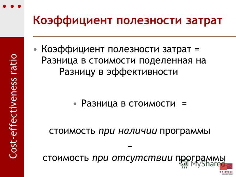 Коэффициент полезности затрат Коэффициент полезности затрат = Разница в стоимости поделенная на Разницу в эффективности Разница в стоимости = стоимость при наличии программы стоимость при отсутствии программы Cost-effectiveness ratio