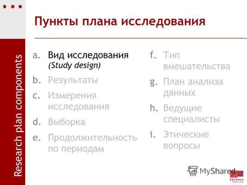 Пункты плана исследования a.Вид исследования (Study design) b.Результаты c.Измерения исследования d.Выборка e.Продолжительность по периодам f.Тип вмешательства g.План анализа данных h.Ведущие специалисты i.Этические вопросы Research plan components