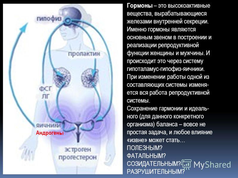Гормоны – это высокоактивные вещества, вырабатывающиеся железами внутренней секреции. Именно гормоны являются основным звеном в построении и реализации репродуктивной функции женщины и мужчины. И происходит это через систему гипоталамус-гипофиз-яични