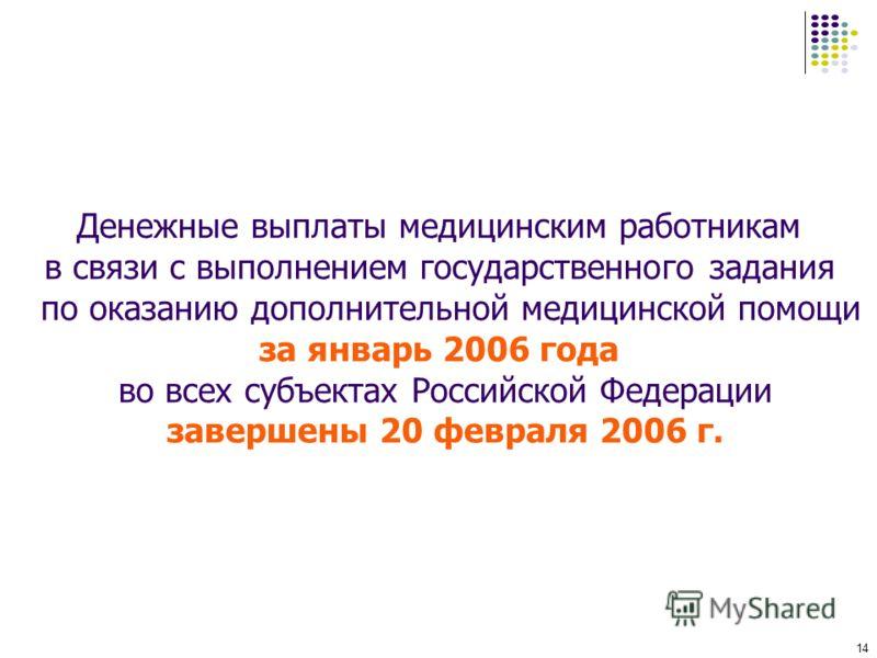 14 Денежные выплаты медицинским работникам в связи с выполнением государственного задания по оказанию дополнительной медицинской помощи за январь 2006 года во всех субъектах Российской Федерации завершены 20 февраля 2006 г.
