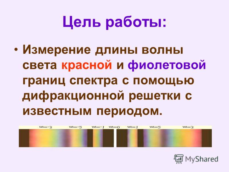 Цель работы: Измерение длины волны света красной и фиолетовой границ спектра с помощью дифракционной решетки с известным периодом.