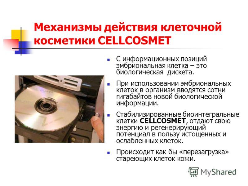 Механизмы действия клеточной косметики CELLCOSMET С информационных позиций эмбриональная клетка – это биологическая дискета. При использовании эмбриональных клеток в организм вводятся сотни гигабайтов новой биологической информации. Стабилизированные