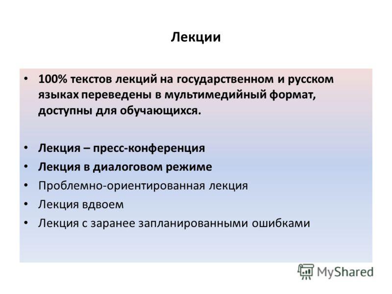 Лекции 100% текстов лекций на государственном и русском языках переведены в мультимедийный формат, доступны для обучающихся. Лекция – пресс-конференция Лекция в диалоговом режиме Проблемно-ориентированная лекция Лекция вдвоем Лекция с заранее заплани