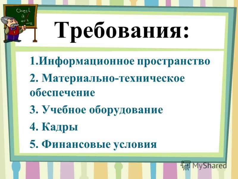 Требования: 1.Информационное пространство 2. Материально-техническое обеспечение 3. Учебное оборудование 4. Кадры 5. Финансовые условия