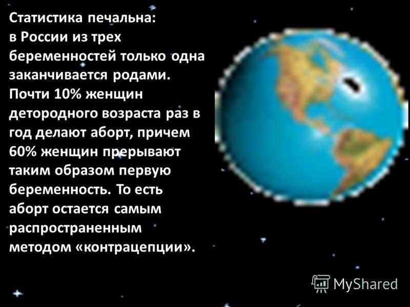 Статистика печальна: в России из трех беременностей только одна заканчивается родами. Почти 10% женщин детородного возраста раз в год делают аборт, причем 60% женщин прерывают таким образом первую беременность. То есть аборт остается самым распростра