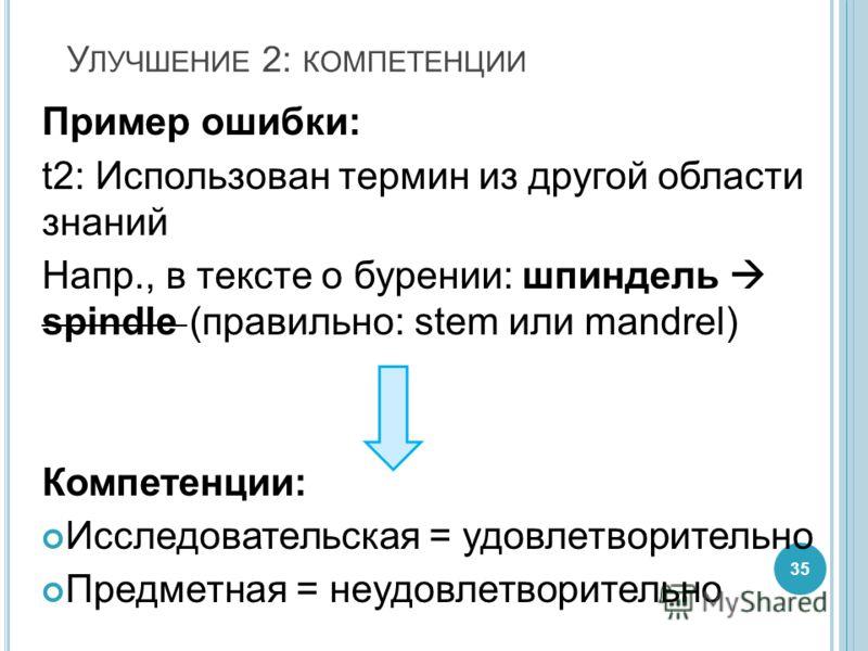 У ЛУЧШЕНИЕ 2: КОМПЕТЕНЦИИ Пример ошибки: t2: Использован термин из другой области знаний Напр., в тексте о бурении: шпиндель spindle (правильно: stem или mandrel) Компетенции: Исследовательская = удовлетворительно Предметная = неудовлетворительно 35
