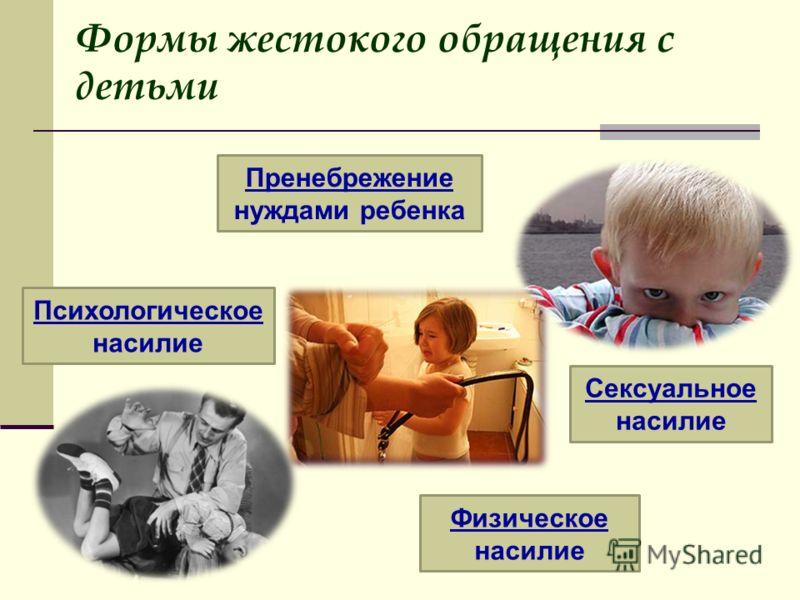 Формы жестокого обращения с детьми Пренебрежение нуждами ребенка Психологическое насилие Сексуальное насилие Физическое насилие