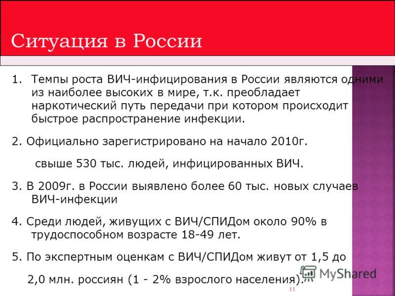 11 Ситуация в России 1.Темпы роста ВИЧ-инфицирования в России являются одними из наиболее высоких в мире, т.к. преобладает наркотический путь передачи при котором происходит быстрое распространение инфекции. 2. Официально зарегистрировано на начало 2