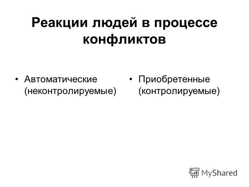 Реакции людей в процессе конфликтов Автоматические (неконтролируемые) Приобретенные (контролируемые)