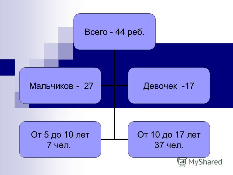 Всего - 44 реб. Мальчиков - 27 Девочек -17 От 5 до 10 лет 7 чел. От 10 до 17 лет 37 чел.