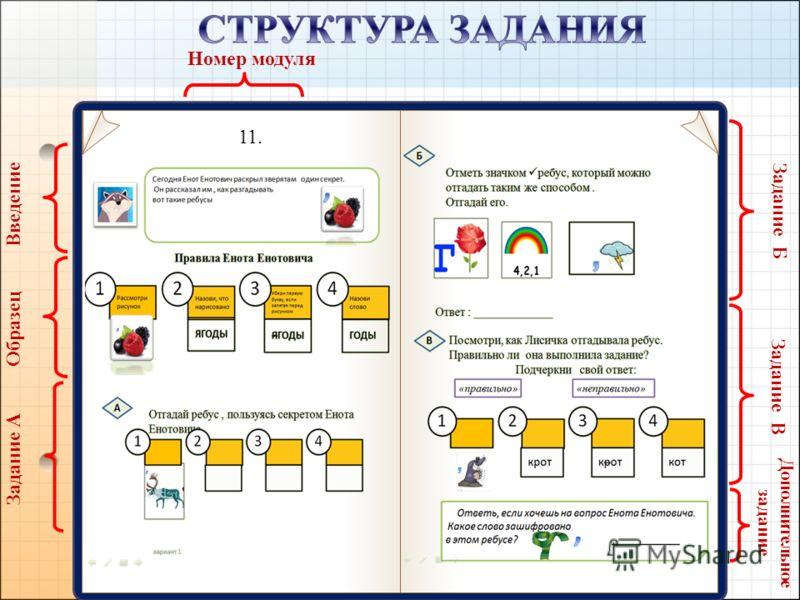 11. Введение Образец Задание А Задание Б Задание В Дополнительное задание Номер модуля