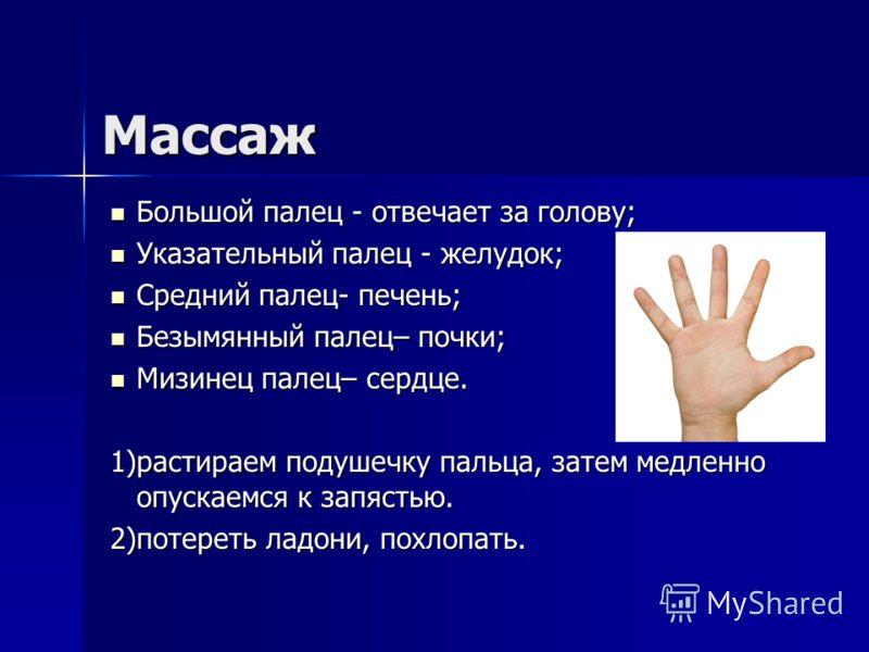 Массаж Большой палец - отвечает за голову; Большой палец - отвечает за голову; Указательный палец - желудок; Указательный палец - желудок; Средний палец- печень; Средний палец- печень; Безымянный палец– почки; Безымянный палец– почки; Мизинец палец–