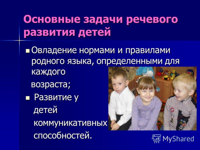 Основные задачи речевого развития детей Овладение нормами и правилами родного языка, определенными для каждого Овладение нормами и правилами родного языка, определенными для каждого возраста; возраста; Развитие у Развитие у детей детей коммуникативны
