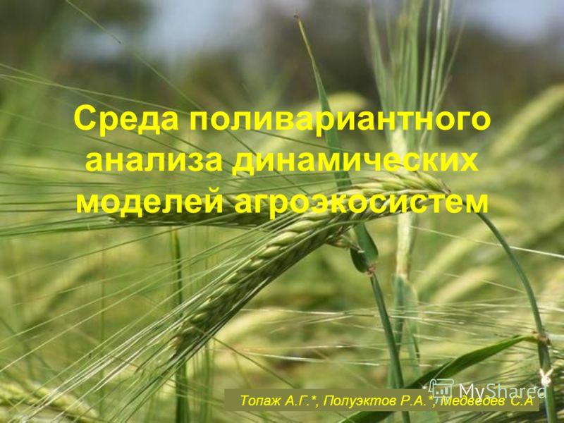 Среда поливариантного анализа динамических моделей агроэкосистем Топаж А.Г.*, Полуэктов Р.А.*, Медведев С.А