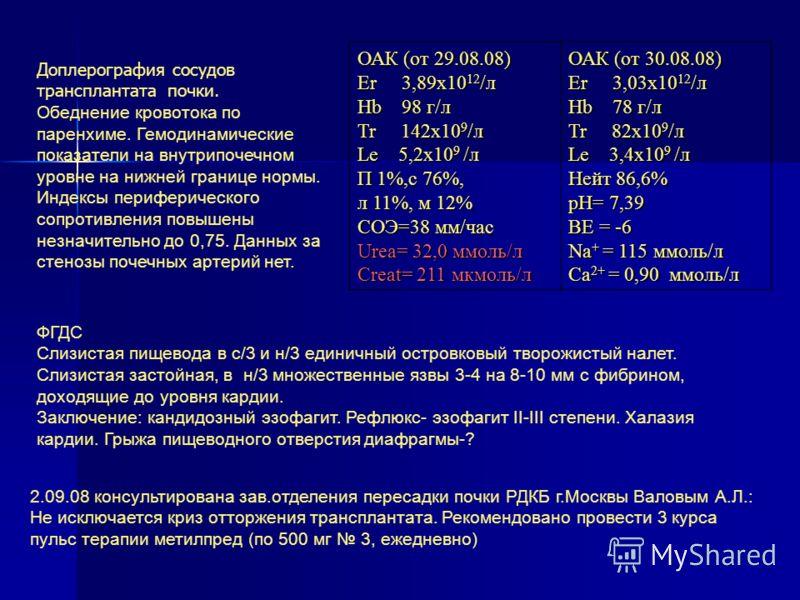 ОАК (от 29.08.08) Er 3,89х10 12 /л Hb 98 г/л Tr 142х10 9 /л Le 5,2х10 9 /л П 1%,с 76%, л 11%, м 12% СОЭ=38 мм/час Urea= 32,0 ммоль/л Creat= 211 мкмоль/л ОАК (от 30.08.08) Er 3,03х10 12 /л Hb 78 г/л Tr 82х10 9 /л Le 3,4х10 9 /л Нейт 86,6% pH= 7,39 ВЕ