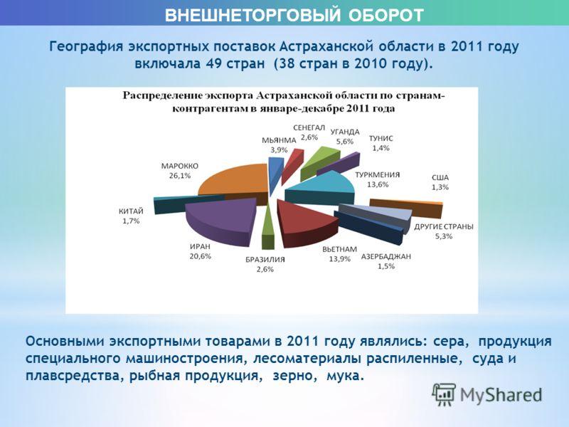 ВНЕШНЕТОРГОВЫЙ ОБОРОТ География экспортных поставок Астраханской области в 2011 году включала 49 стран (38 стран в 2010 году). Основными экспортными товарами в 2011 году являлись: сера, продукция специального машиностроения, лесоматериалы распиленные