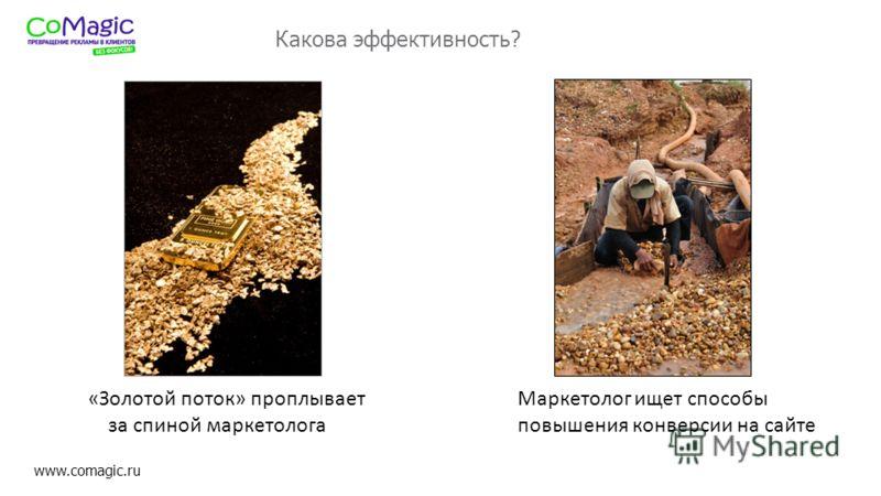 www.comagic.ru Какова эффективность? «Золотой поток» проплывает за спиной маркетолога Маркетолог ищет способы повышения конверсии на сайте
