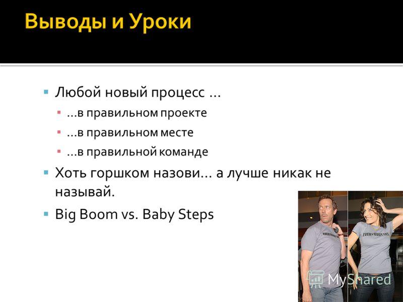 Любой новый процесс … …в правильном проекте …в правильном месте …в правильной команде Хоть горшком назови… а лучше никак не называй. Big Boom vs. Baby Steps