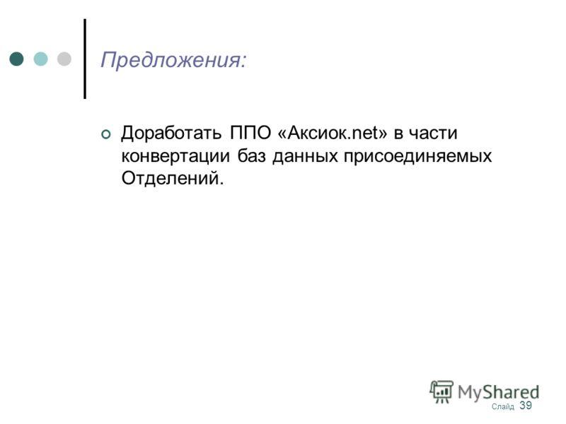 Слайд 39 Предложения: Доработать ППО «Аксиок.net» в части конвертации баз данных присоединяемых Отделений.