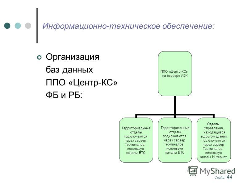 Слайд 44 Информационно-техническое обеспечение: ППО «Центр-КС» на сервере УФК Территориальные отделы подключаются через сервер Терминалов, используя каналы ВТС Территориальные отделы подключаются через сервер Терминалов, используя каналы ВТС Отделы У