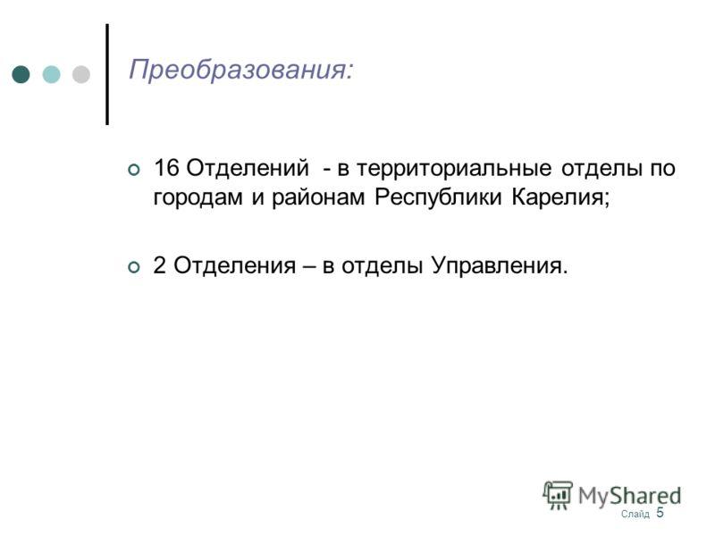 Слайд 5 Преобразования: 16 Отделений - в территориальные отделы по городам и районам Республики Карелия; 2 Отделения – в отделы Управления.