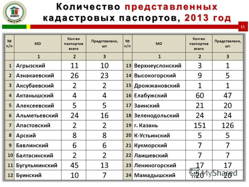 Количество представленных кадастровых паспортов, 2013 год 11