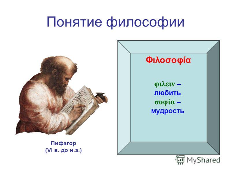 Понятие философии Φιλοσοφία Пифагор (VI в. до н.э.) φιλειν – любить σοφία – мудрость