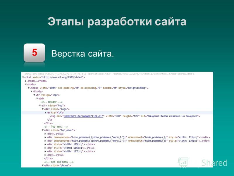 5 Этапы разработки сайта Верстка сайта.