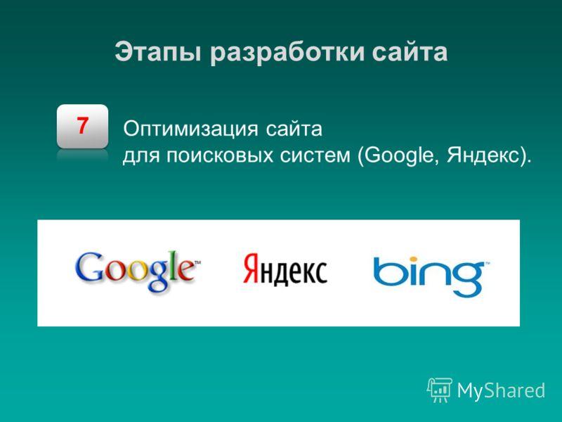 7 Этапы разработки сайта Оптимизация сайта для поисковых систем (Google, Яндекс).