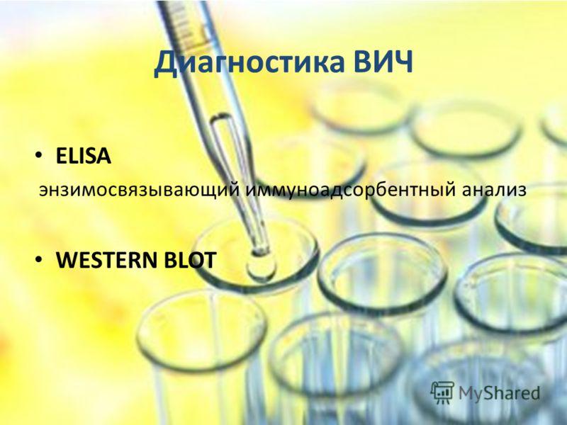 Диагностика ВИЧ ELISA энзимосвязывающий иммуноадсорбентный анализ WESTERN BLOT