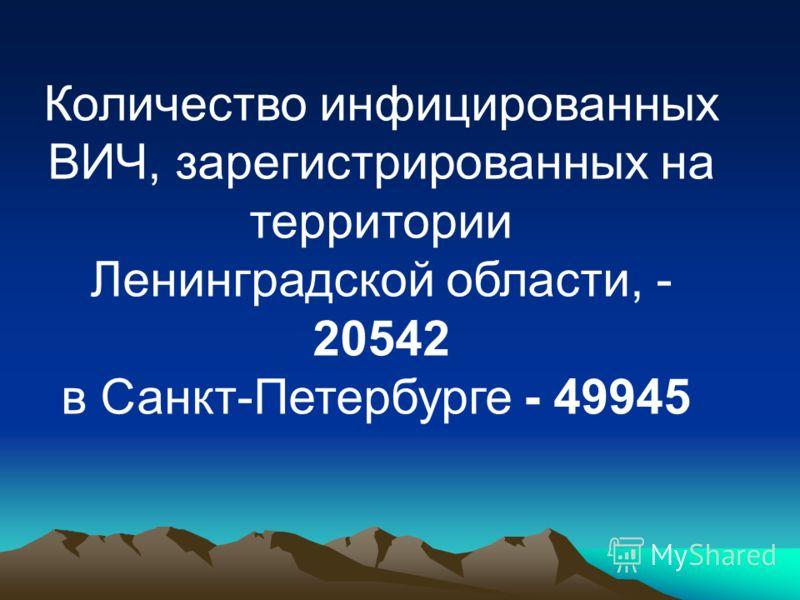 Количество инфицированных ВИЧ, зарегистрированных на территории Ленинградской области, - 20542 в Санкт-Петербурге - 49945
