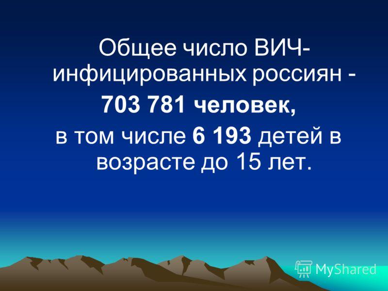 Общее число ВИЧ- инфицированных россиян - 703 781 человек, в том числе 6 193 детей в возрасте до 15 лет.
