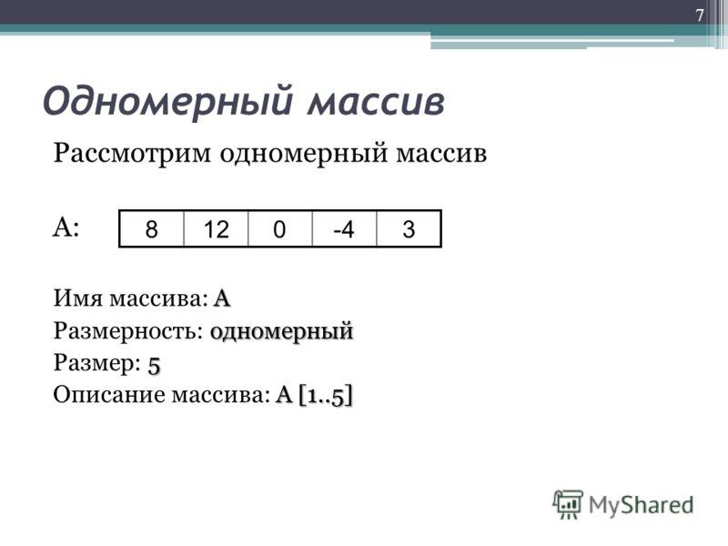 Одномерный массив Рассмотрим одномерный массив А: А Имя массива: А одномерный Размерность: одномерный 5 Размер: 5 А [1..5] Описание массива: А [1..5] 7 8120-43