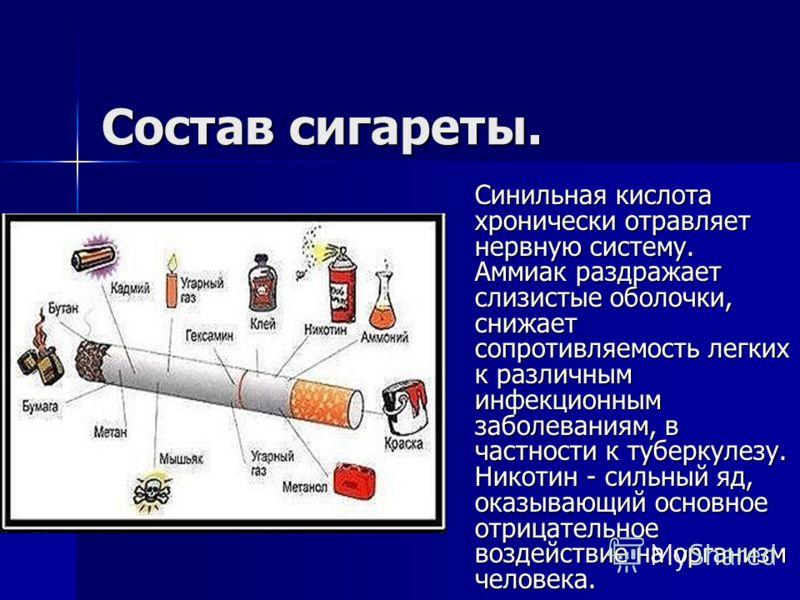 Состав сигареты. Синильная кислота хронически отравляет нервную систему. Аммиак раздражает слизистые оболочки, снижает сопротивляемость легких к различным инфекционным заболеваниям, в частности к туберкулезу. Никотин - сильный яд, оказывающий основно