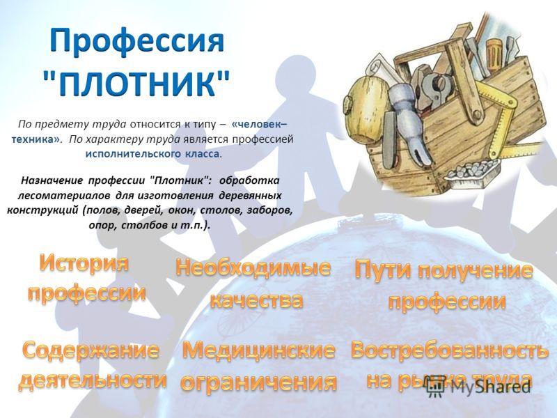 По предмету труда относится к типу – «человек– техника». По характеру труда является профессией исполнительского класса. Назначение профессии
