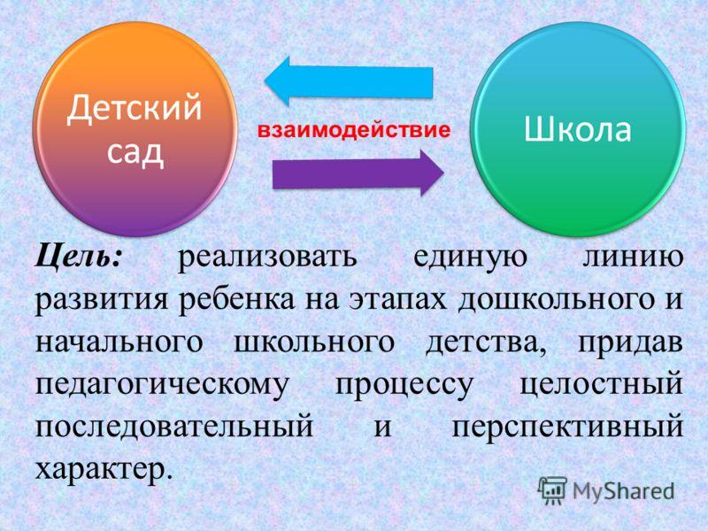 Цель: реализовать единую линию развития ребенка на этапах дошкольного и начального школьного детства, придав педагогическому процессу целостный последовательный и перспективный характер. взаимодействие