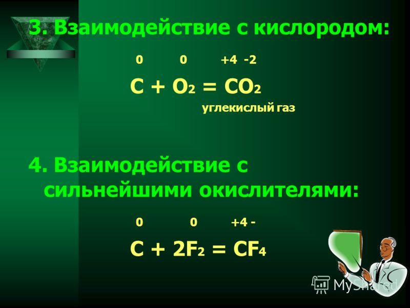 3. Взаимодействие с кислородом: 0 0 +4 -2 C + O 2 = CO 2 углекислый газ 4. Взаимодействие с сильнейшими окислителями: 0 0 +4 - C + 2F 2 = CF 4