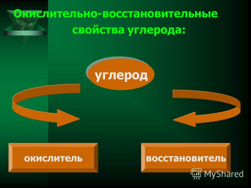 Окислительно-восстановительные свойства углерода: углерод окислительвосстановитель