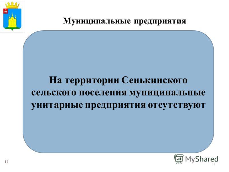 11 Муниципальные предприятия На территории Сенькинского сельского поселения муниципальные унитарные предприятия отсутствуют