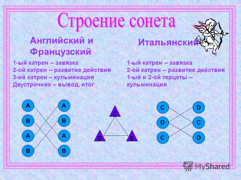 Английский и Французский Итальянский 1-ый катрен – завязка 2-ой катрен – развитие действия 3-ий катрен – кульминация Двустрочник – вывод, итог 1-ый катрен – завязка 2-ой катрен – развитие действия 1-ый и 2-ой терцеты – кульминация А В А В А В А В C D