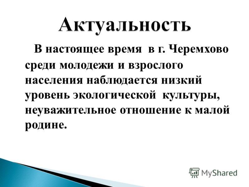 В настоящее время в г. Черемхово среди молодежи и взрослого населения наблюдается низкий уровень экологической культуры, неуважительное отношение к малой родине.