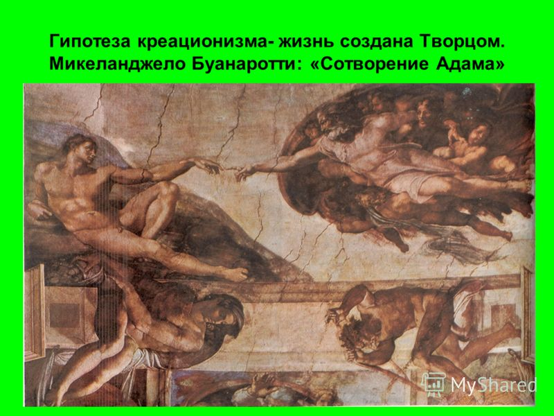 Гипотеза креационизма- жизнь создана Творцом. Микеланджело Буанаротти: «Сотворение Адама»