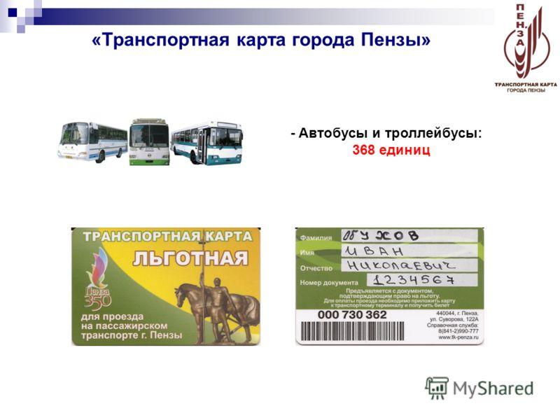«Транспортная карта города Пензы» - Автобусы и троллейбусы: 368 единиц