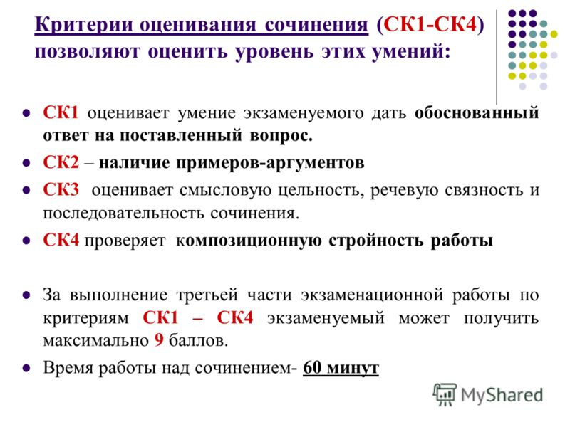 Критерии оценивания сочинения (СК1-СК4) позволяют оценить уровень этих умений: СК1 оценивает умение экзаменуемого дать обоснованный ответ на поставленный вопрос. СК2 – наличие примеров-аргументов СК3 оценивает смысловую цельность, речевую связность и